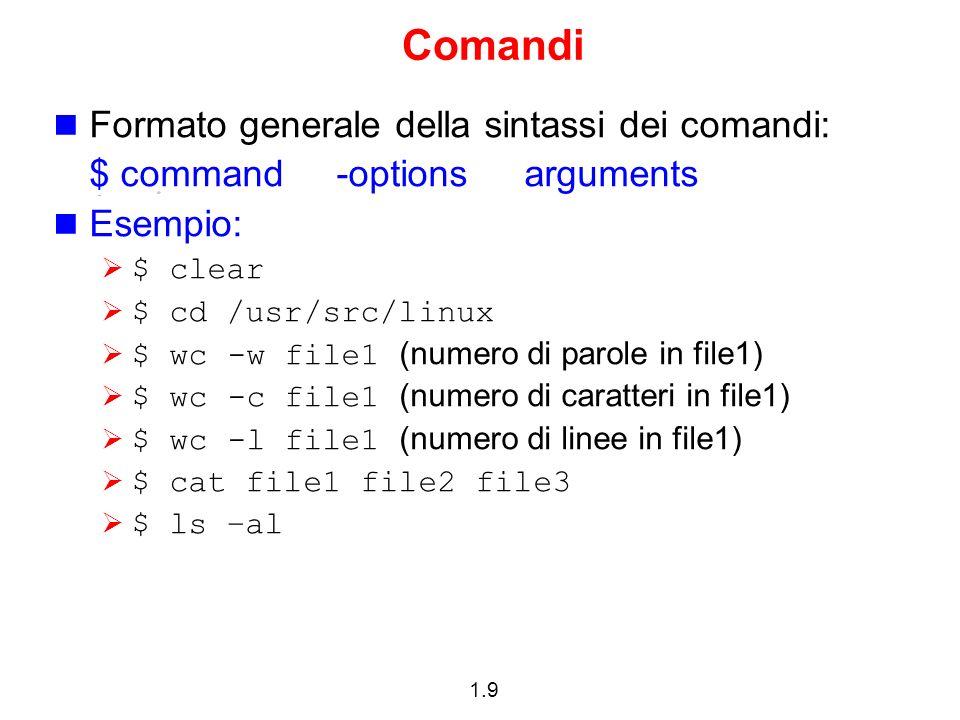 Comandi Formato generale della sintassi dei comandi: