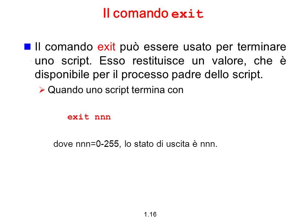 Il comando exit