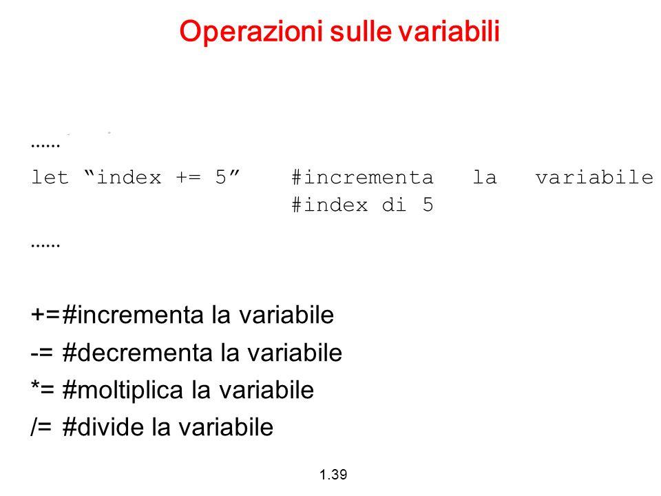 Operazioni sulle variabili