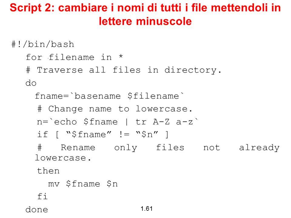 Script 2: cambiare i nomi di tutti i file mettendoli in lettere minuscole