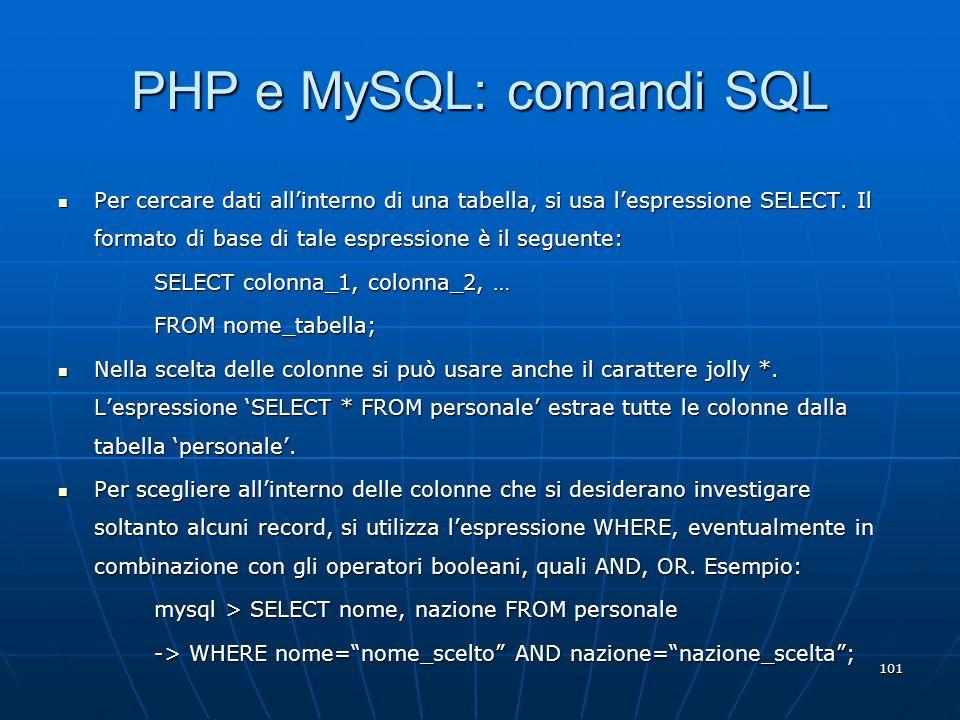 PHP e MySQL: comandi SQL