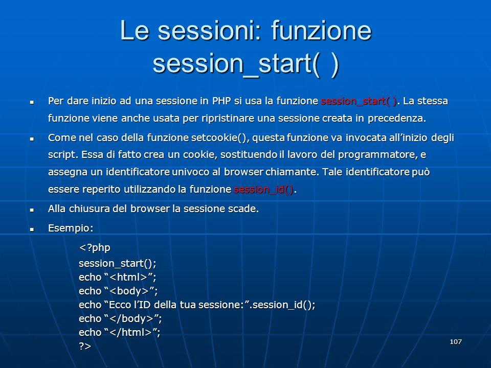 Le sessioni: funzione session_start( )