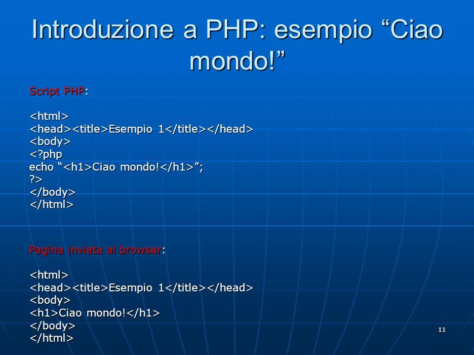 Introduzione a PHP: esempio Ciao mondo!