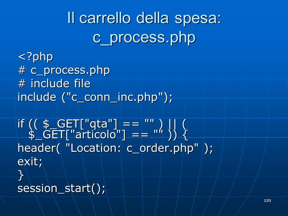 Il carrello della spesa: c_process.php