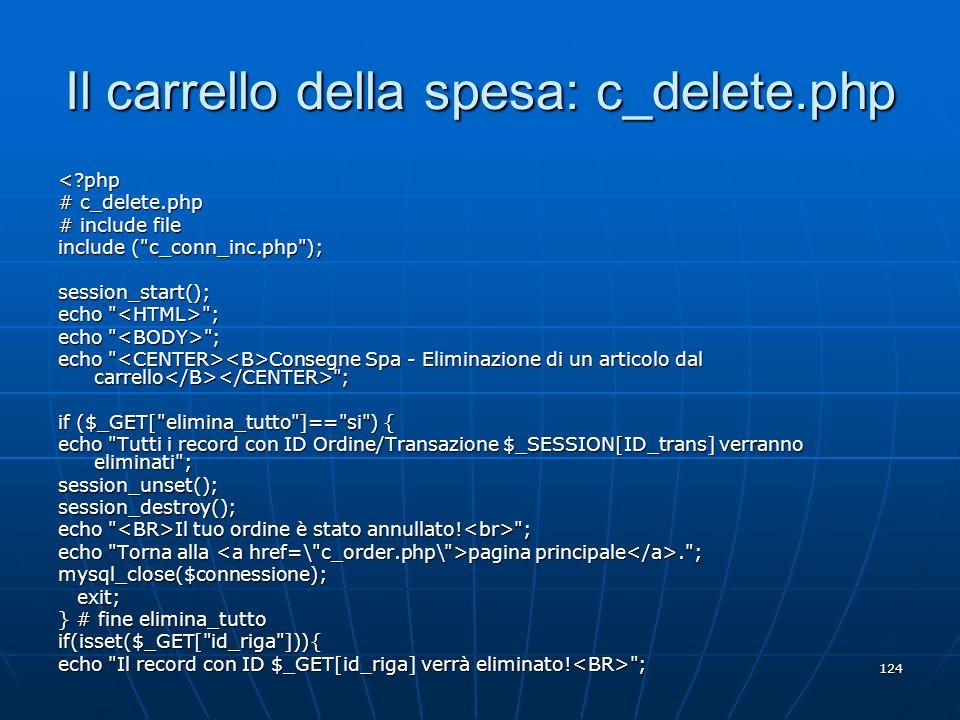 Il carrello della spesa: c_delete.php