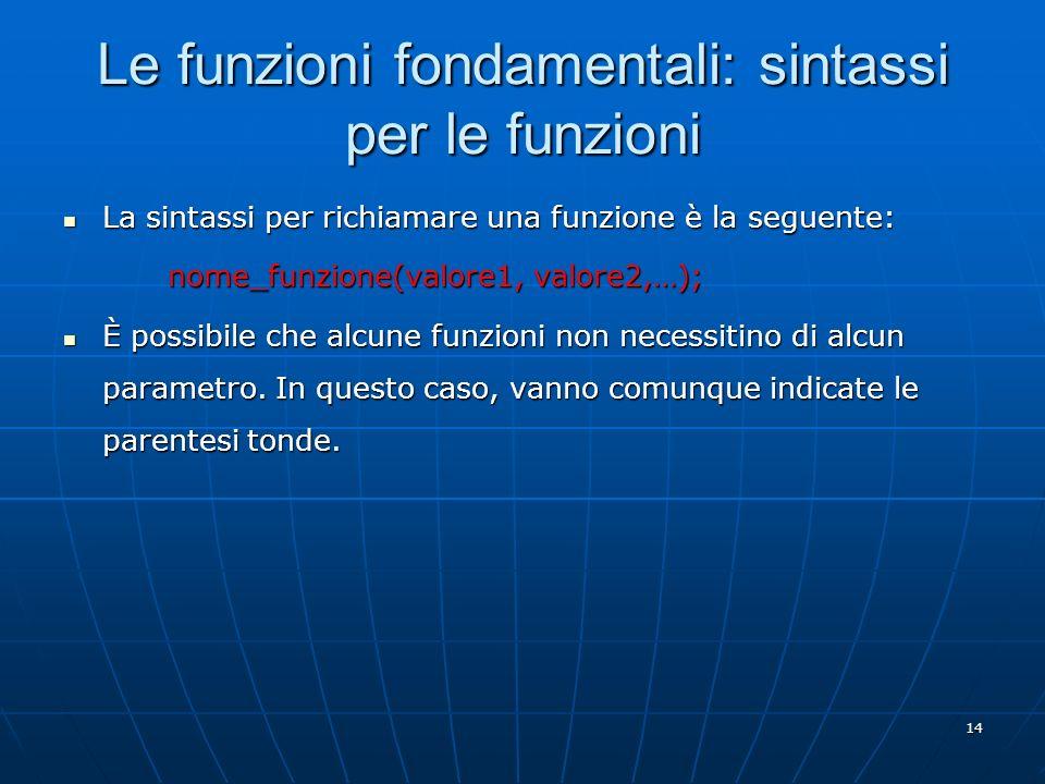 Le funzioni fondamentali: sintassi per le funzioni