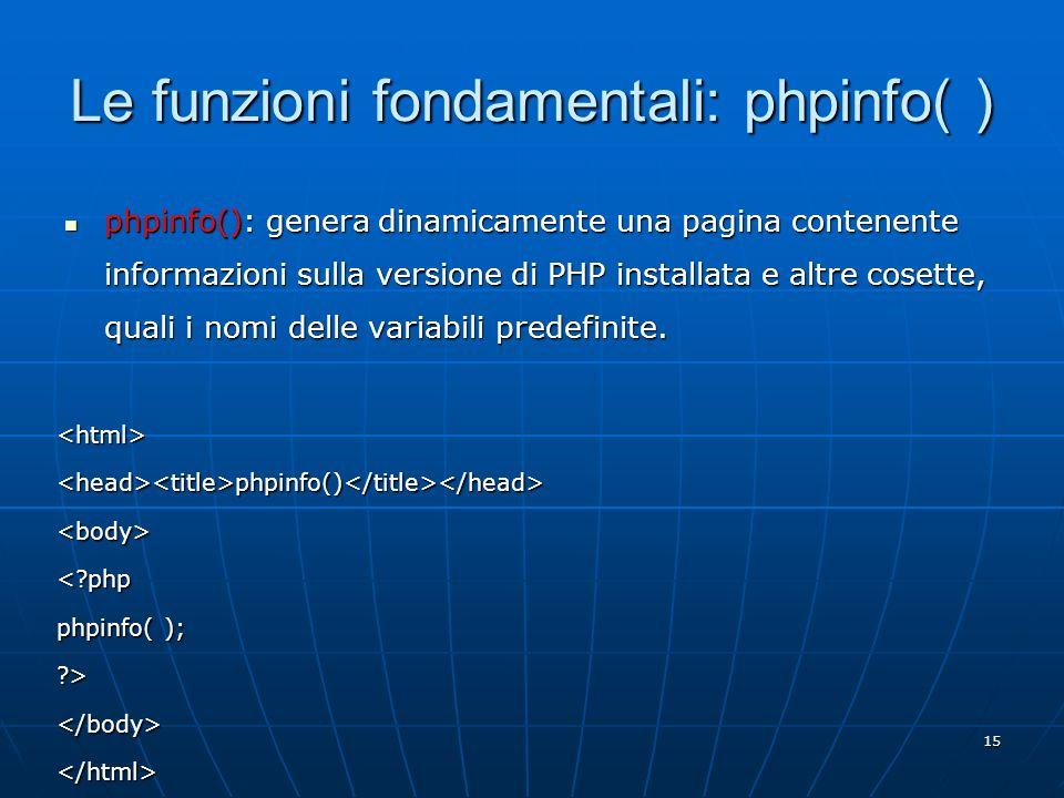 Le funzioni fondamentali: phpinfo( )