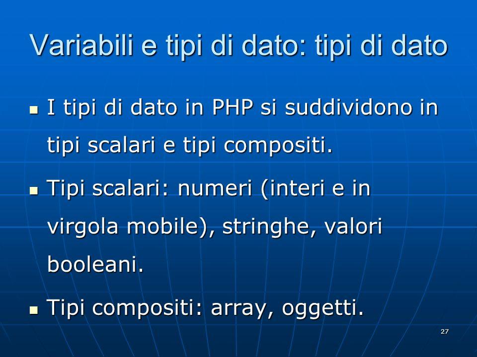 Variabili e tipi di dato: tipi di dato