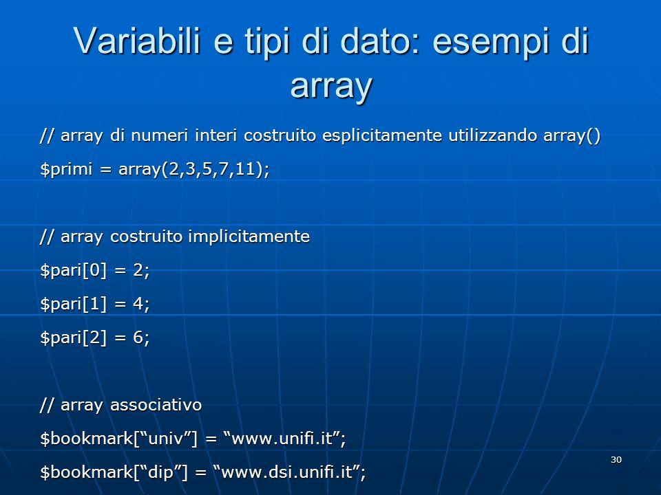 Variabili e tipi di dato: esempi di array