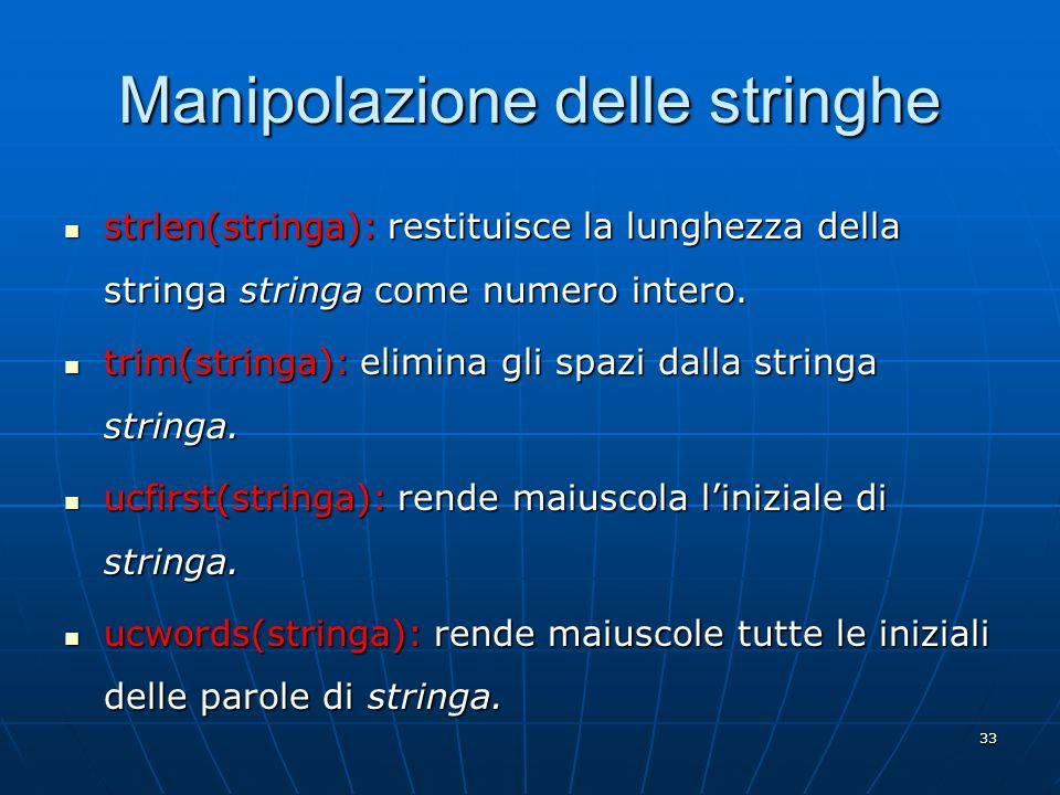 Manipolazione delle stringhe