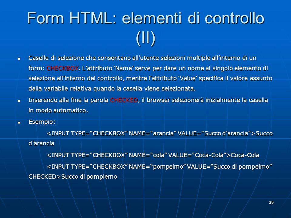 Form HTML: elementi di controllo (II)