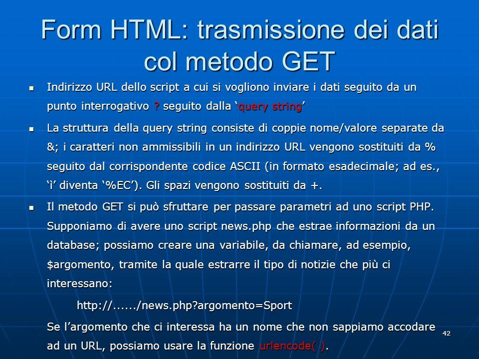 Form HTML: trasmissione dei dati col metodo GET