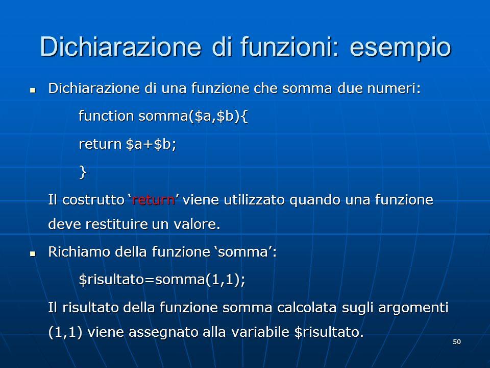 Dichiarazione di funzioni: esempio