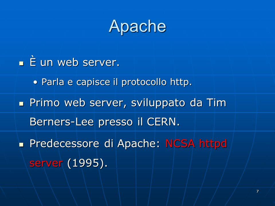 Apache È un web server. Parla e capisce il protocollo http. Primo web server, sviluppato da Tim Berners-Lee presso il CERN.