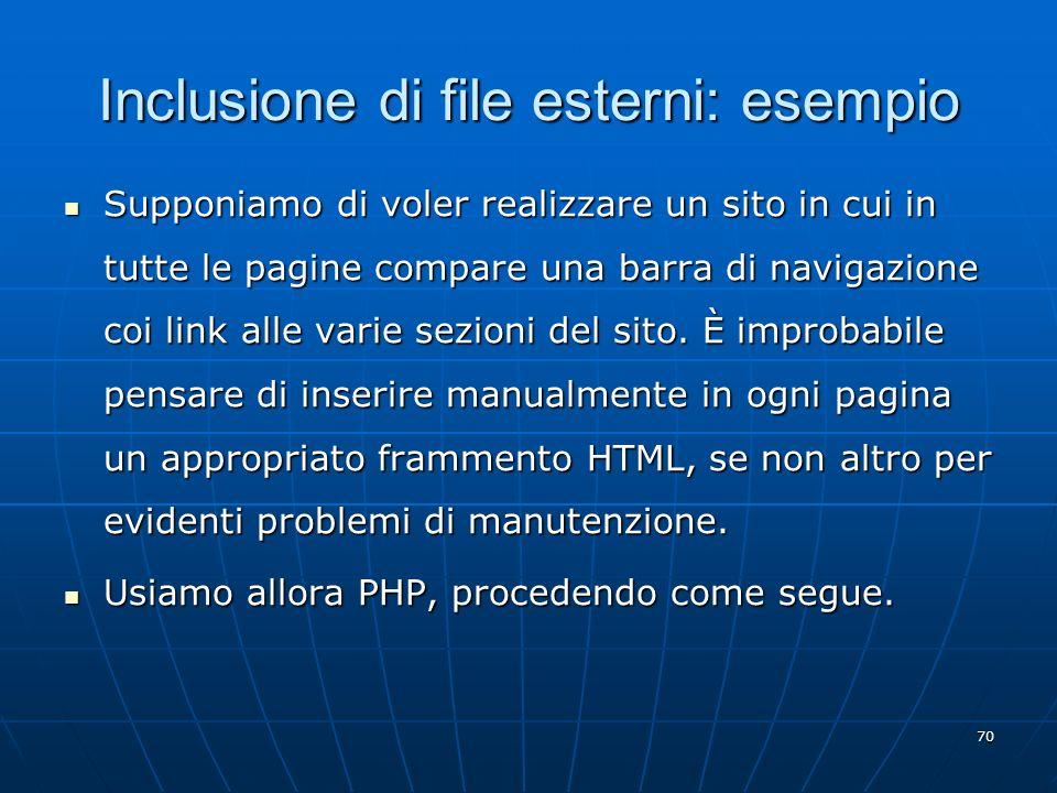 Inclusione di file esterni: esempio