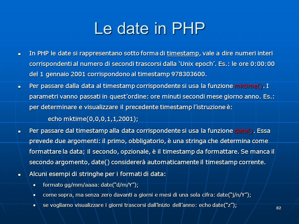 Le date in PHP