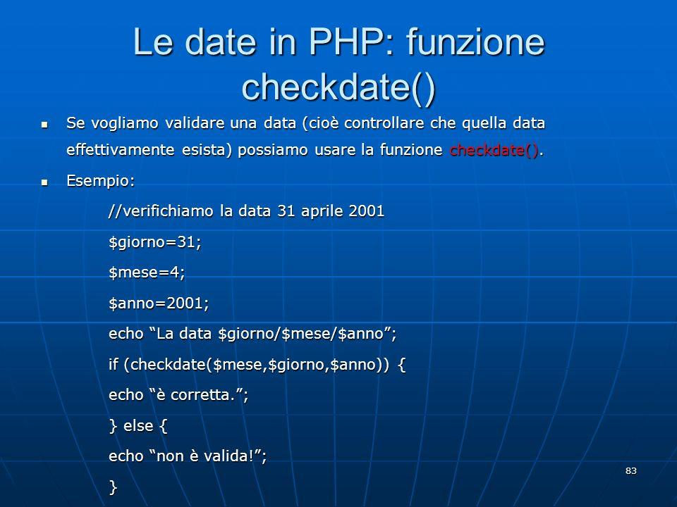 Le date in PHP: funzione checkdate()