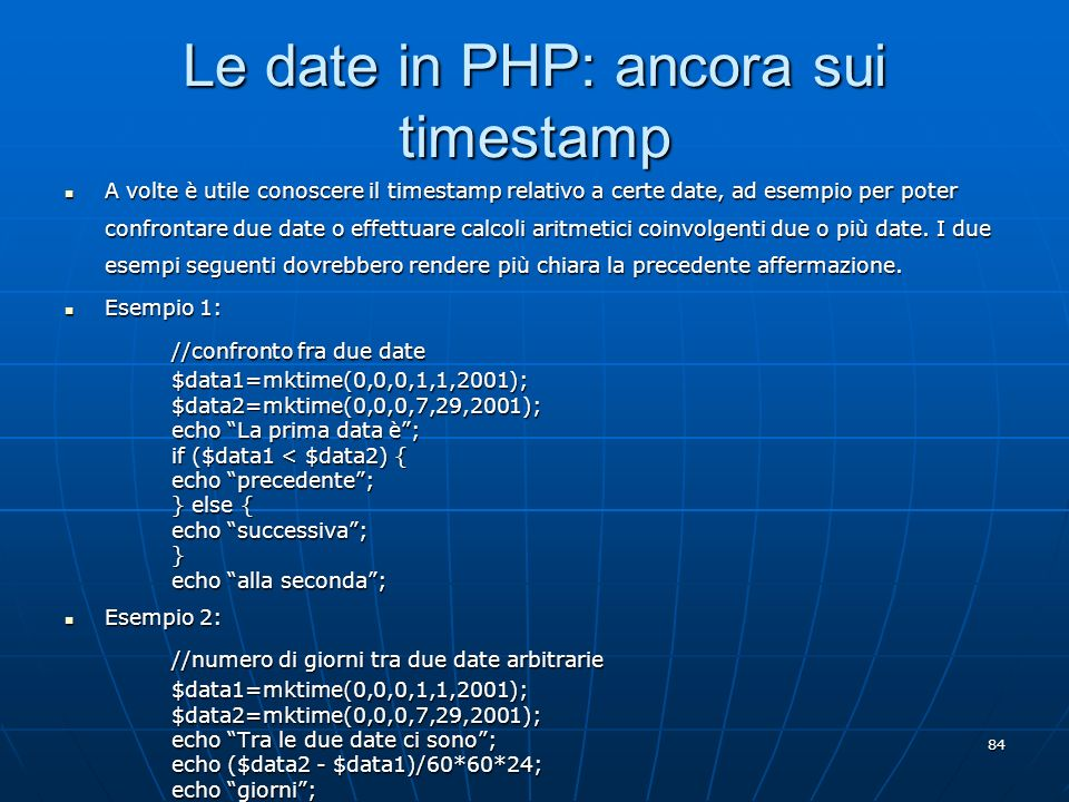 Le date in PHP: ancora sui timestamp