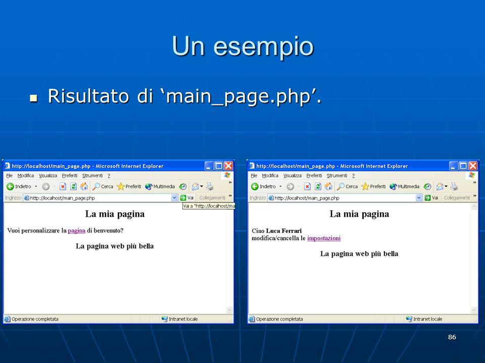 Un esempio Risultato di 'main_page.php'.