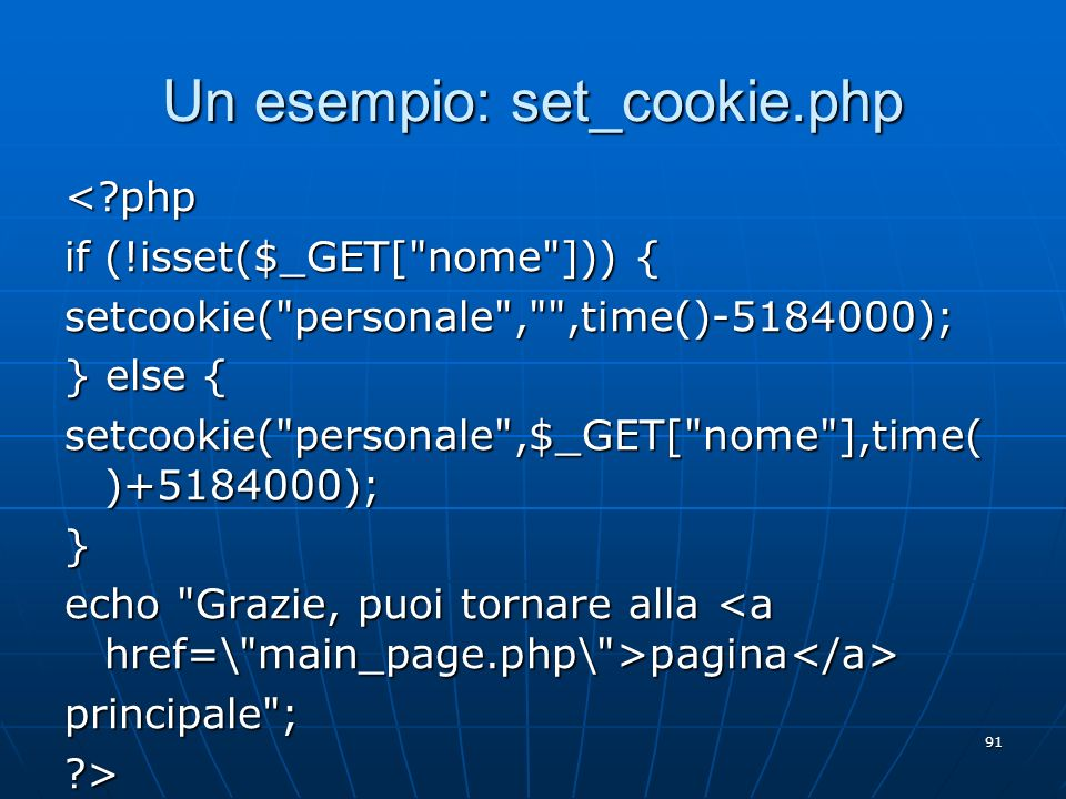 Un esempio: set_cookie.php