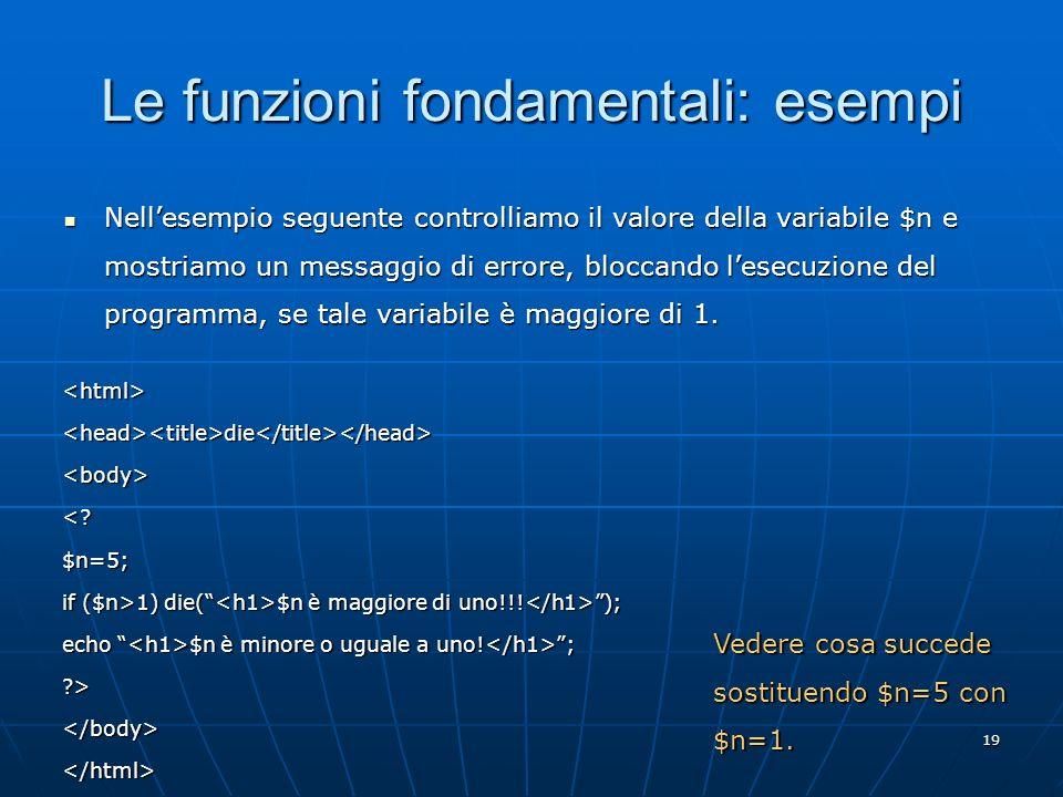 Le funzioni fondamentali: esempi