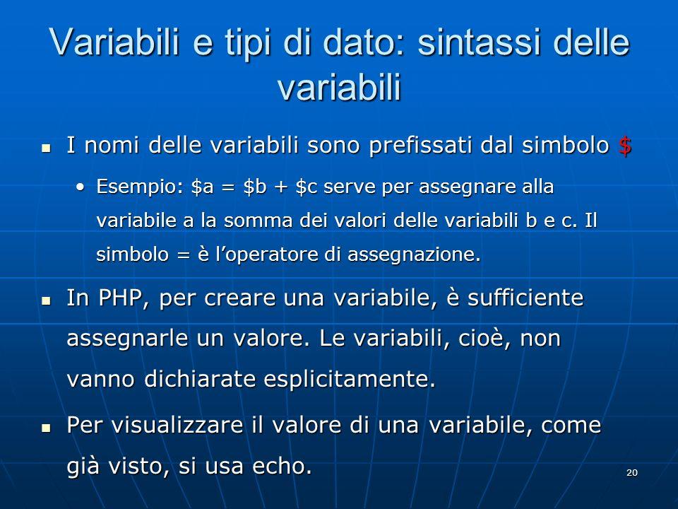 Variabili e tipi di dato: sintassi delle variabili