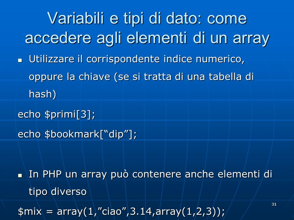 Variabili e tipi di dato: come accedere agli elementi di un array