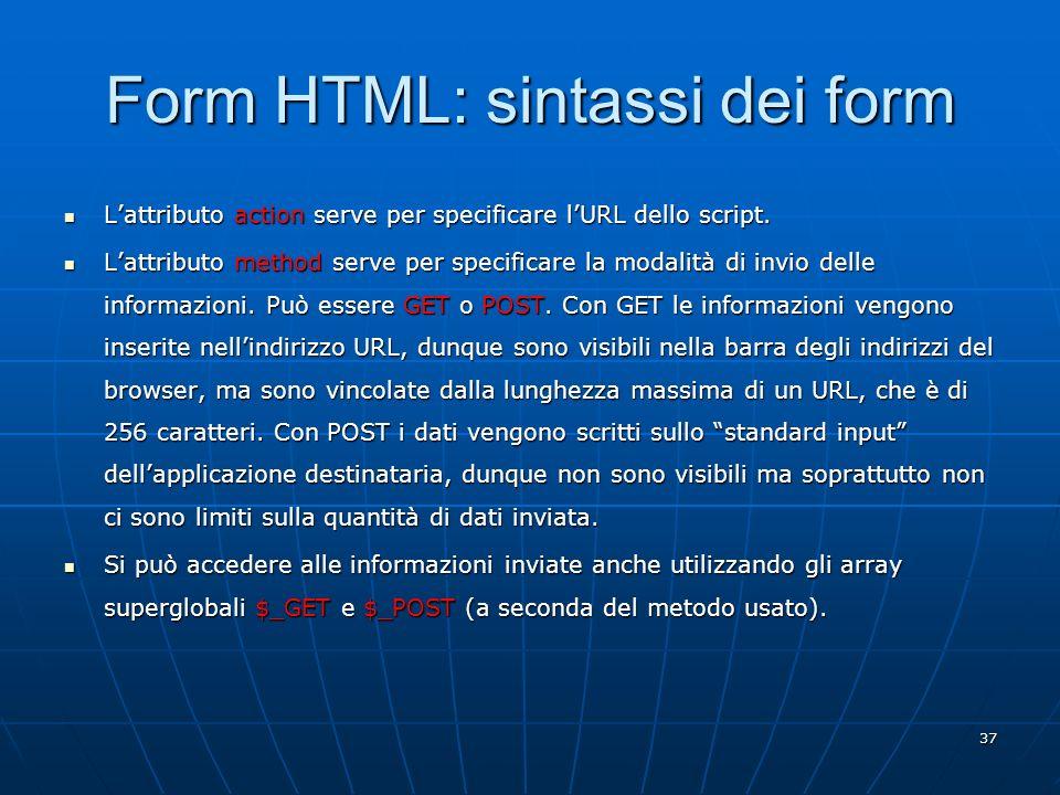 Form HTML: sintassi dei form
