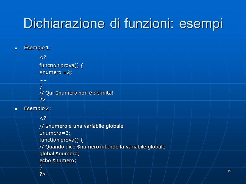 Dichiarazione di funzioni: esempi