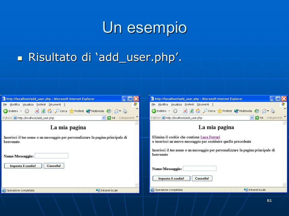 Un esempio Risultato di 'add_user.php'.