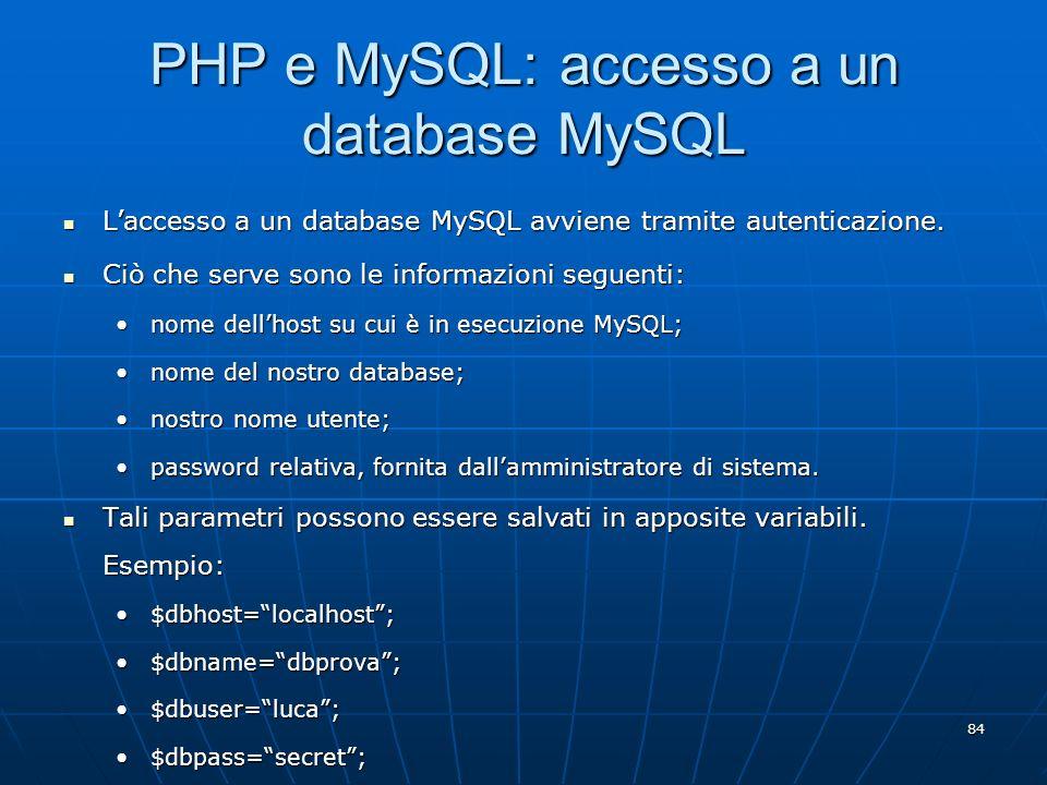 PHP e MySQL: accesso a un database MySQL