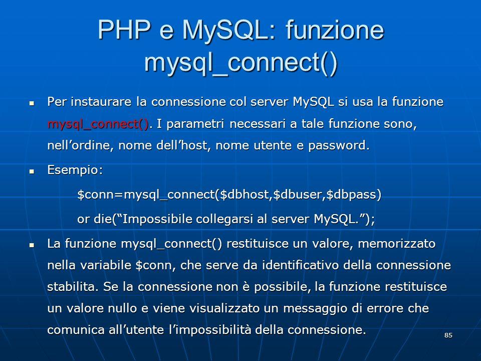 PHP e MySQL: funzione mysql_connect()