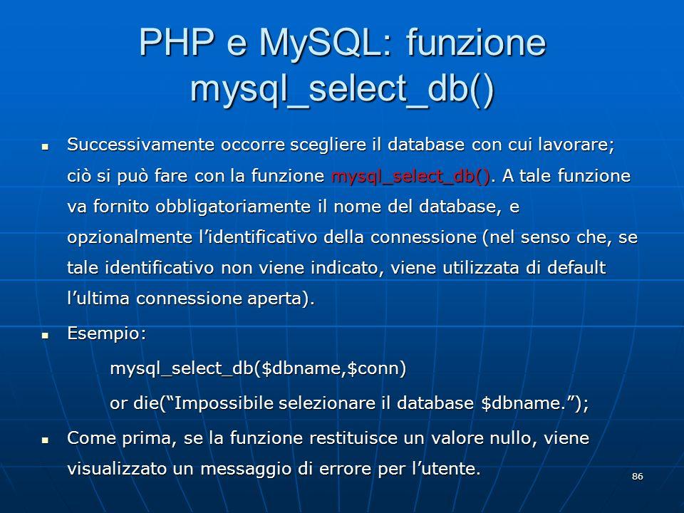 PHP e MySQL: funzione mysql_select_db()