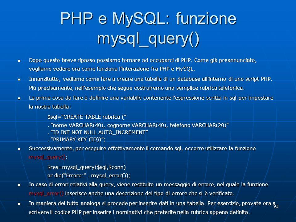 PHP e MySQL: funzione mysql_query()