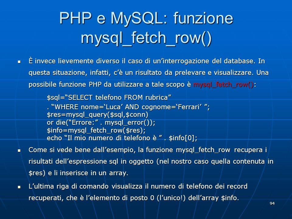PHP e MySQL: funzione mysql_fetch_row()