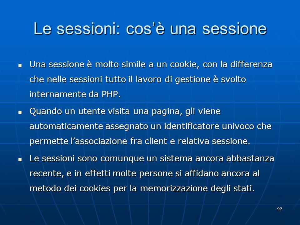 Le sessioni: cos'è una sessione
