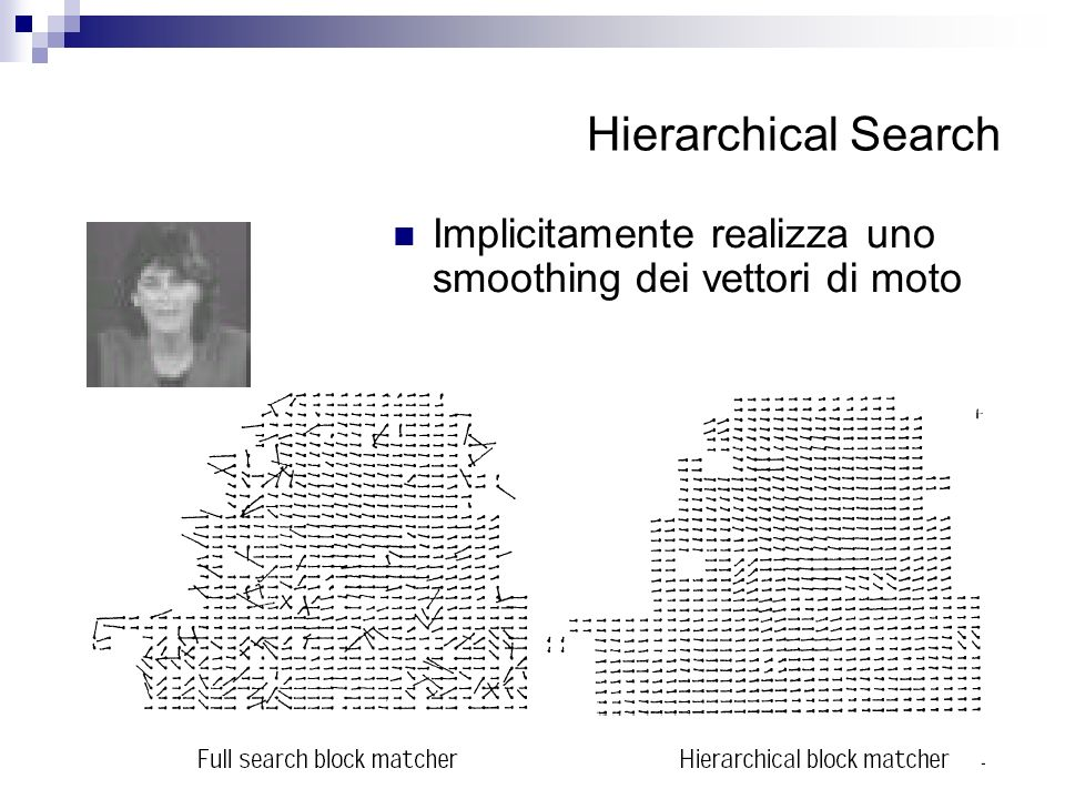 Hierarchical Search Implicitamente realizza uno smoothing dei vettori di moto