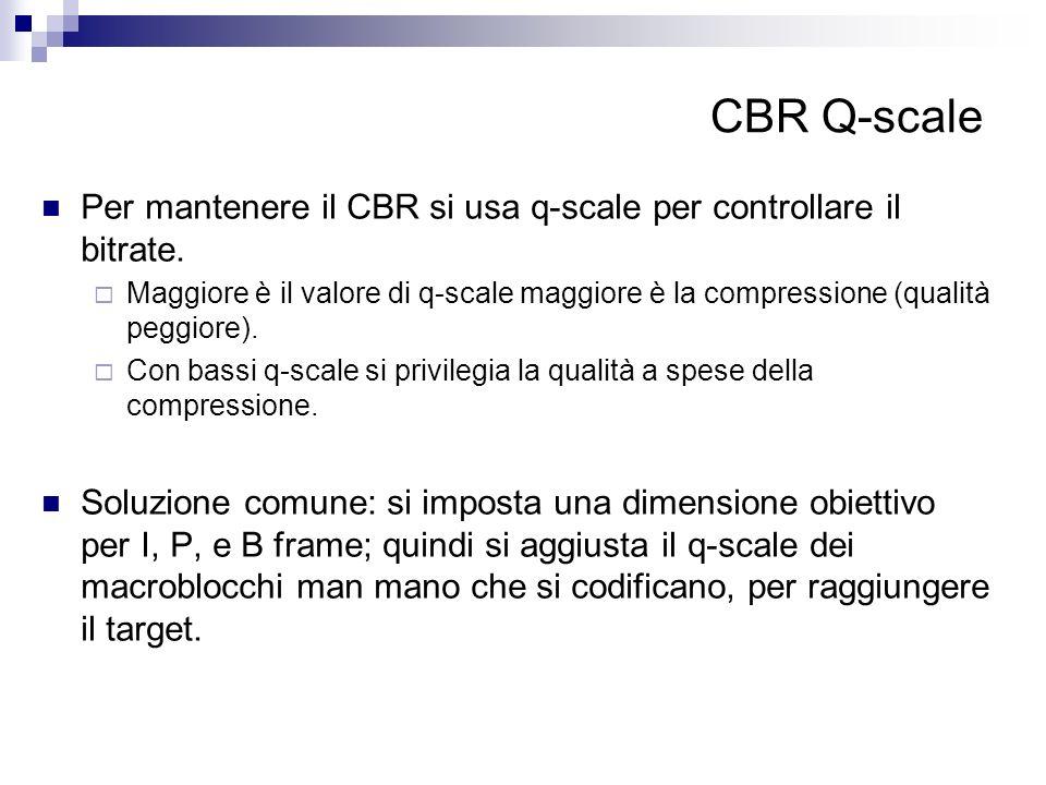 CBR Q-scale Per mantenere il CBR si usa q-scale per controllare il bitrate.