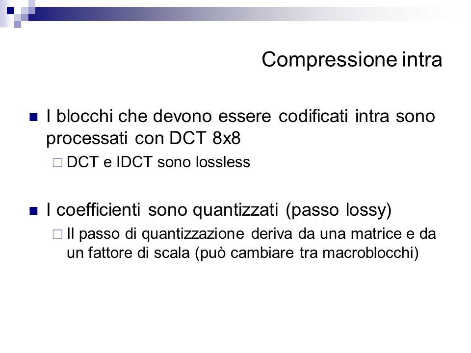 Compressione intra I blocchi che devono essere codificati intra sono processati con DCT 8x8. DCT e IDCT sono lossless.