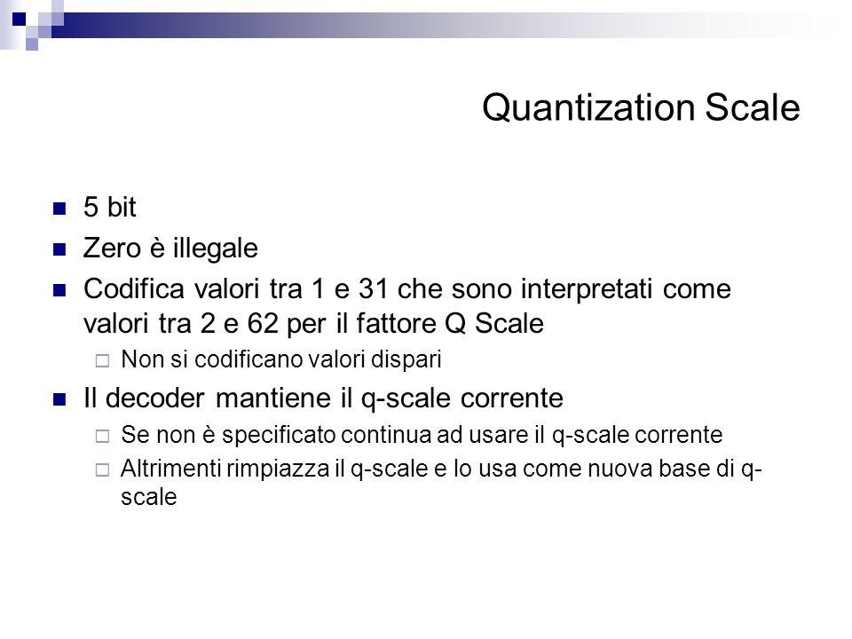 Quantization Scale 5 bit Zero è illegale