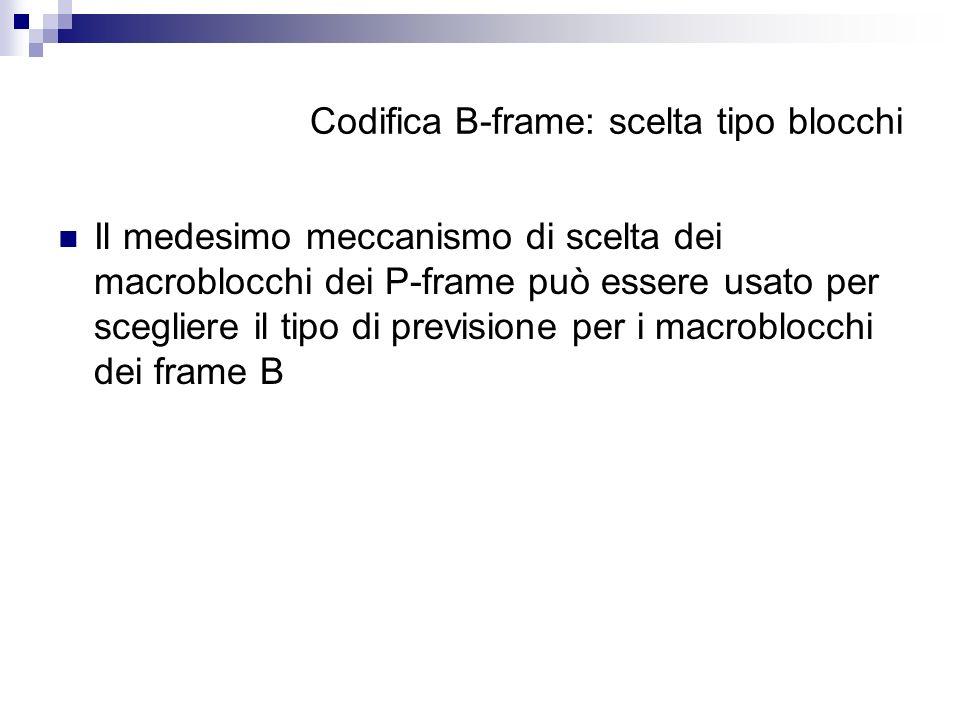 Codifica B-frame: scelta tipo blocchi