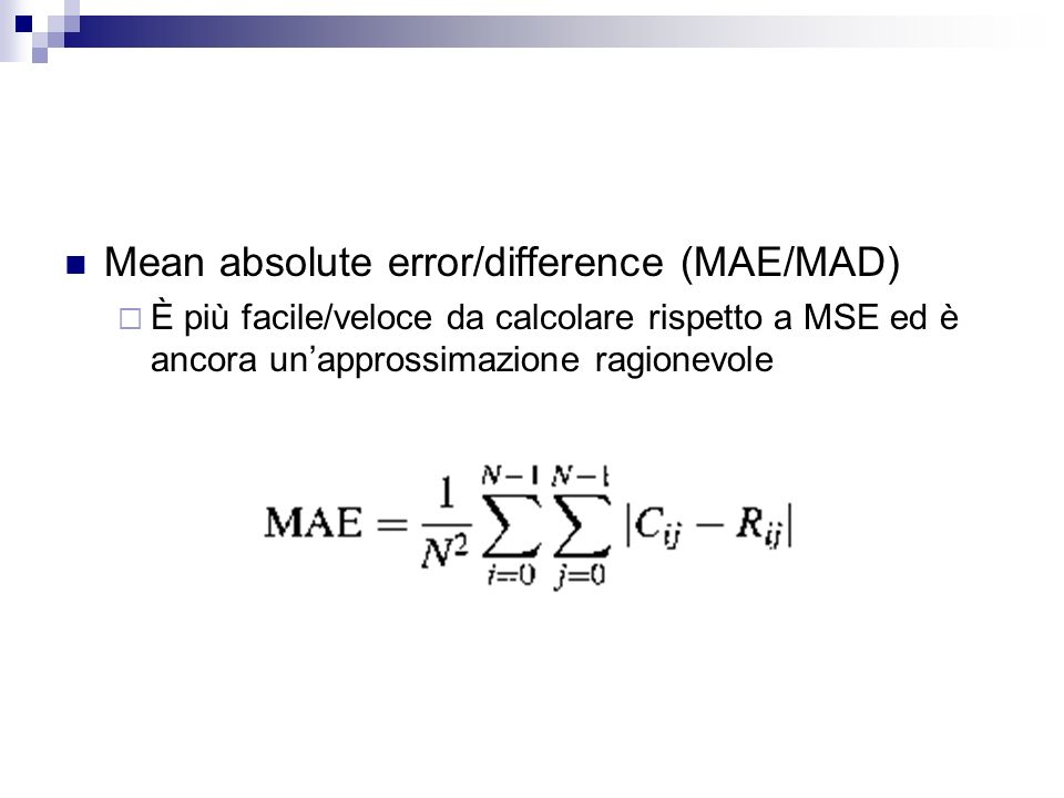 Mean absolute error/difference (MAE/MAD)