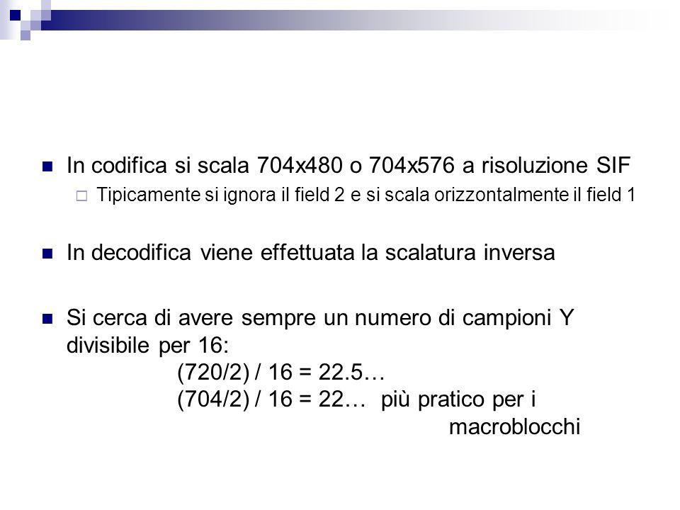 In codifica si scala 704x480 o 704x576 a risoluzione SIF
