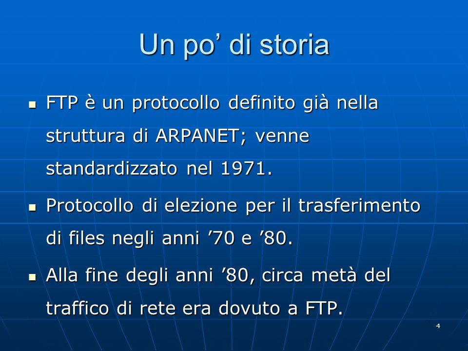 Un po' di storia FTP è un protocollo definito già nella struttura di ARPANET; venne standardizzato nel 1971.