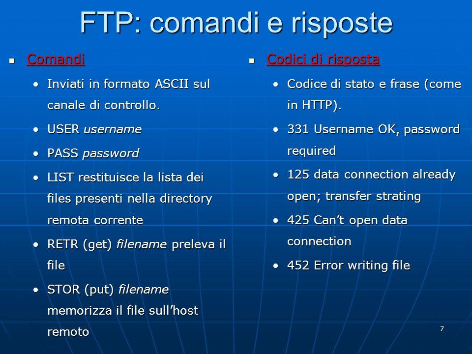 FTP: comandi e risposte