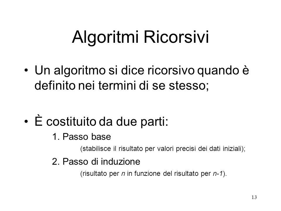 Algoritmi RicorsiviUn algoritmo si dice ricorsivo quando è definito nei termini di se stesso; È costituito da due parti: