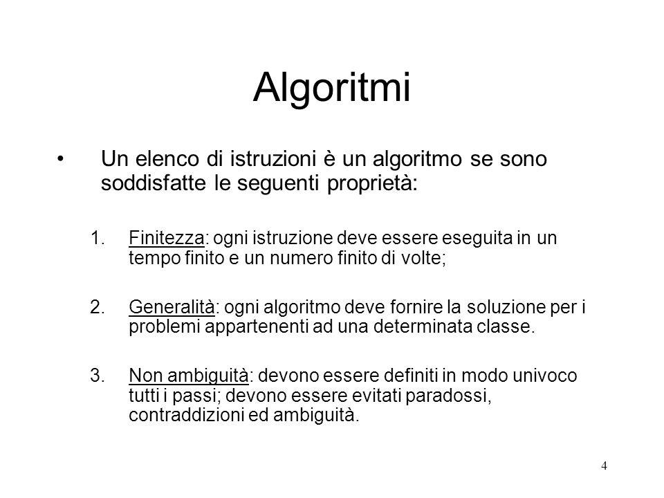 AlgoritmiUn elenco di istruzioni è un algoritmo se sono soddisfatte le seguenti proprietà: