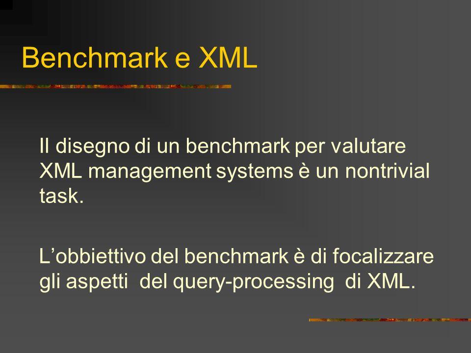 Benchmark e XML Il disegno di un benchmark per valutare XML management systems è un nontrivial task.