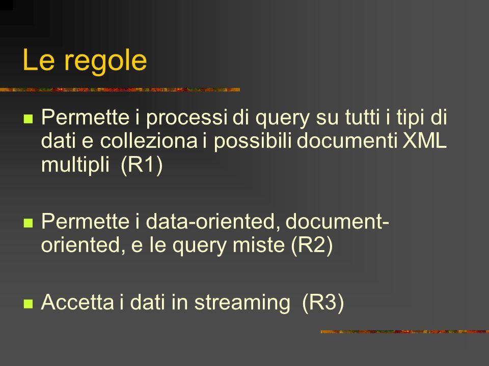 Le regole Permette i processi di query su tutti i tipi di dati e colleziona i possibili documenti XML multipli (R1)