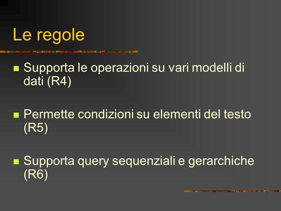 Le regole Supporta le operazioni su vari modelli di dati (R4)